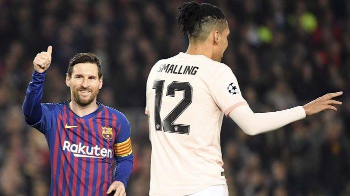 Lionel Messi bikin lini belakang Manchester United porak poranda (LLUIS GENE / AFP)