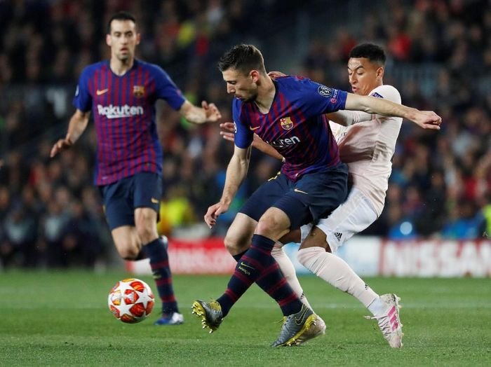 Barcelona memetik kemenangan 3-0 atas Man United pada leg II babak perempatfinal Liga Champions. Dengan kemenangan di Camp Nou, Rabu (17/4/2019) dinihari WIB, Los Cules melaju ke semifinal. (Foto: Susana Vera/Reuters)