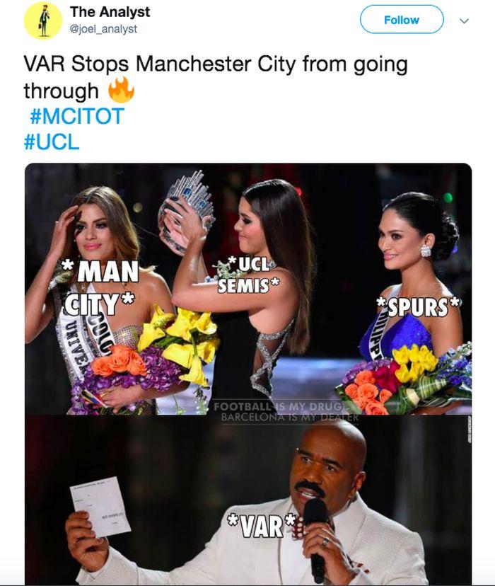 Gol Manchester City di injury time lewat Raheem Sterling dibatalkan oleh VAR. Hal ini mengingatkan kejadian itu dikait-kaitkan dengan kesalahan dalam penghargaan Miss Universe. Foto: Istimewa