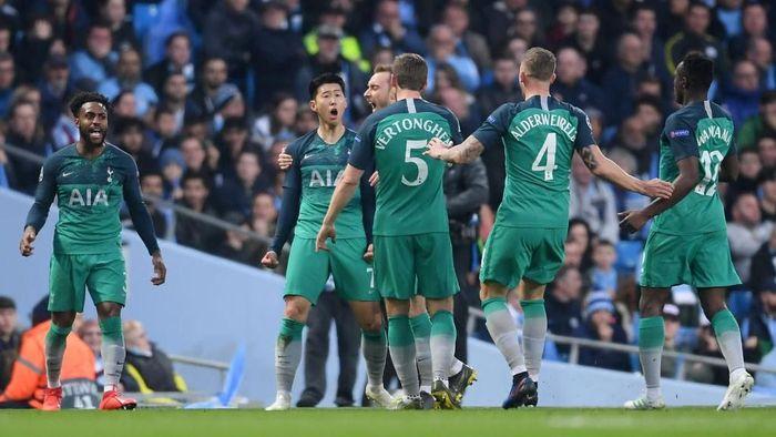 Pemain Tottenham Hotspur saat menyingkirkan Manchester City tengah pekan lalu. (Foto: Laurence Griffiths/Getty Images)
