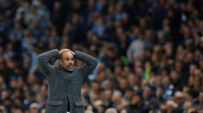 Soccer Football - Champions League Quarter Final Second Leg - Manchester City v Tottenham Hotspur - Etihad Stadium, Manchester, Britain - April 17, 2019  Manchester City manager Pep Guardiola reacts                REUTERS/Phil Noble