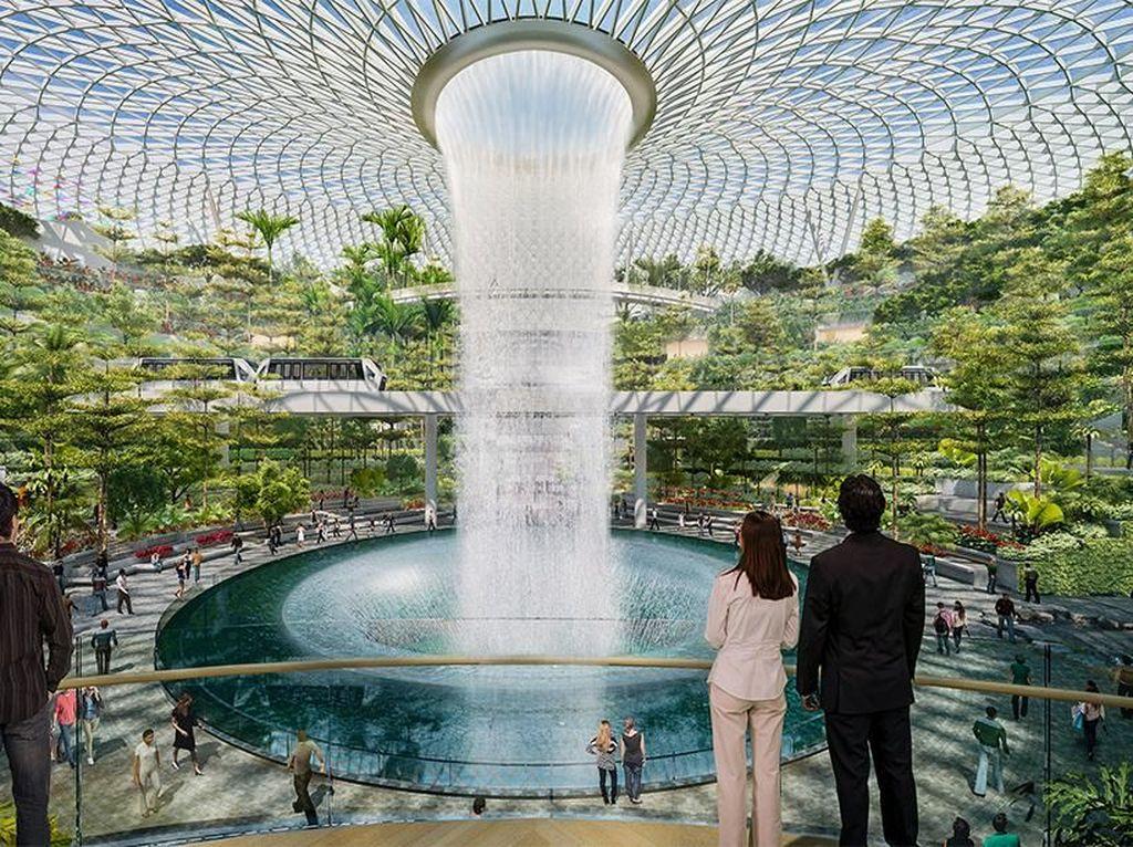 Air Terjun Indoor Tertinggi di Dunia Ada di Singapura