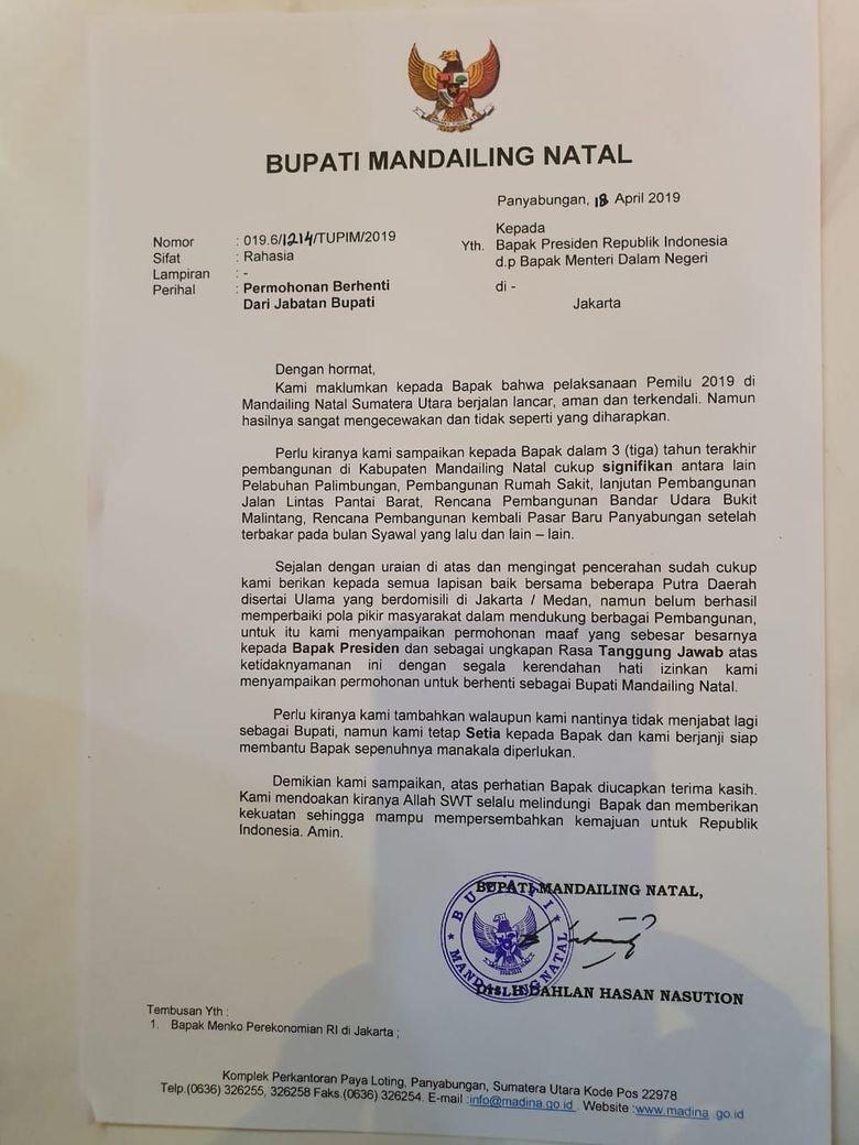 Ini Surat Undur Diri Bupati Madina karena Jokowi Kalah di Wilayahnya