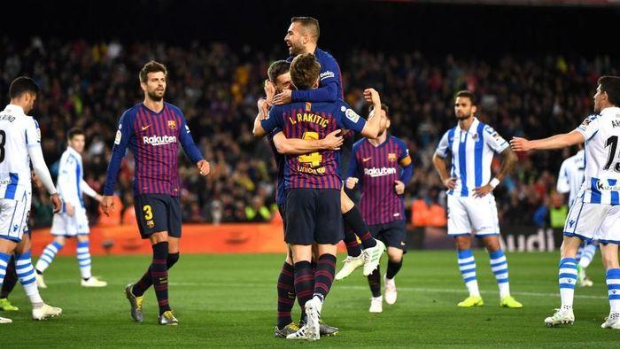 Barcelona mengalahkan Real Sociedad 2-1 di pekan ke-33 Liga Spanyol, Minggu (21/4/2019) dini hari WIB. (Foto: David Ramos/Getty Images)