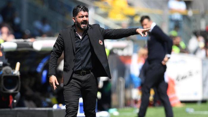 Gennaro Gattuso menyayangkan hasil imbang yang diraih AC Milan saat menghadapi Parma di pekan ke-33 Liga Italia, Sabtu (20/4/2019). (Foto: Jennifer Lorenzini/Reuters)