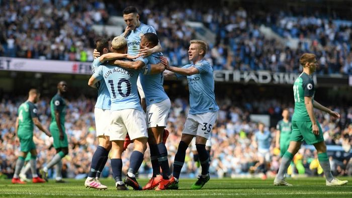 Manchester City mengukir rekor baru di kandang usai mengalahkan Tottenham Hotspur 1-0 di Etihad, Sabtu (20/4/2019). (Foto: Shaun Botterill/Getty Images)