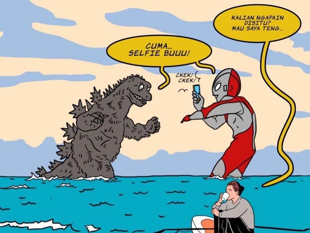 Godzila Ngajak Ribut Ultraman, Menteri Susi Asyik Ngopi di Ilustrasi Ini