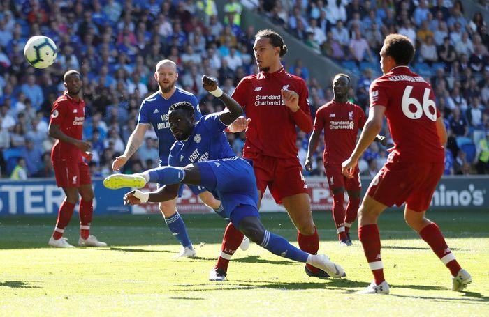 Pertandingan lanjutan Liga Inggris antara Cardiff City vs Liverpool dihelat di Cardiff City Stadium, Minggu (21/4/2019) malam WIB. Reuters/Carl Recine.
