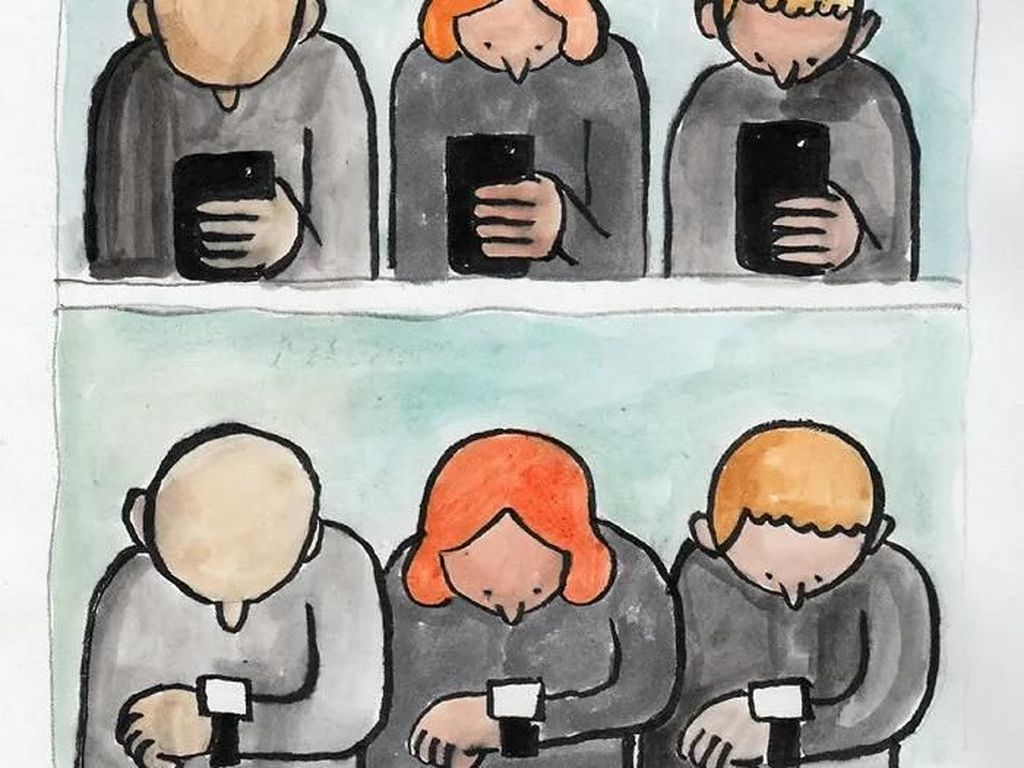 Ilustrasi Menohok Manusia Kecanduan Teknologi