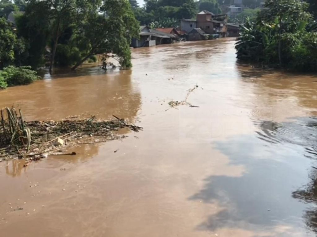 Pulau Sampah Hanyut di Sungai Ciliwung