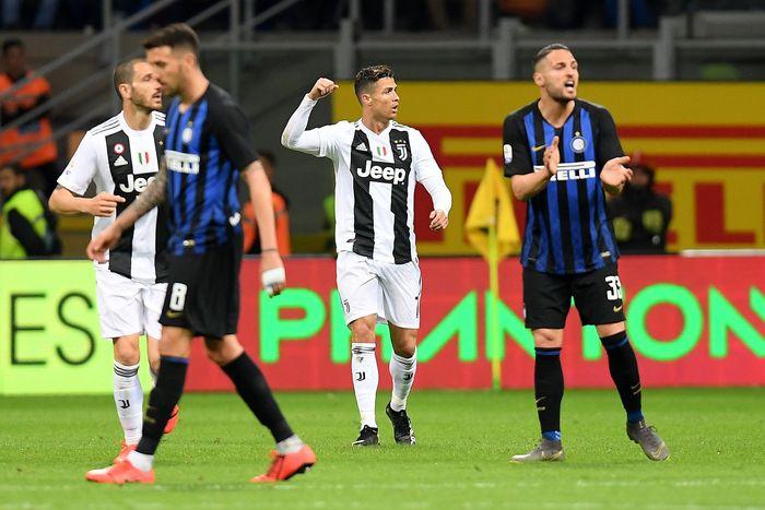Juventus datang ke Giuseppe Meazza, Minggu (28/4/2019) dinihari WIB, dengan status juara Liga Italia 2018/2019. REUTERS/Daniele Mascolo.