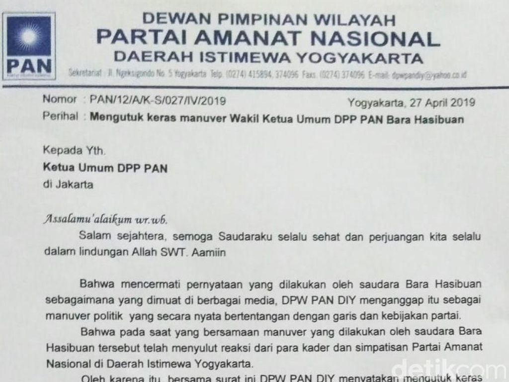 Kader di DIY Layangkan Surat ke DPP PAN Desak Bara Hasibuan Dipecat
