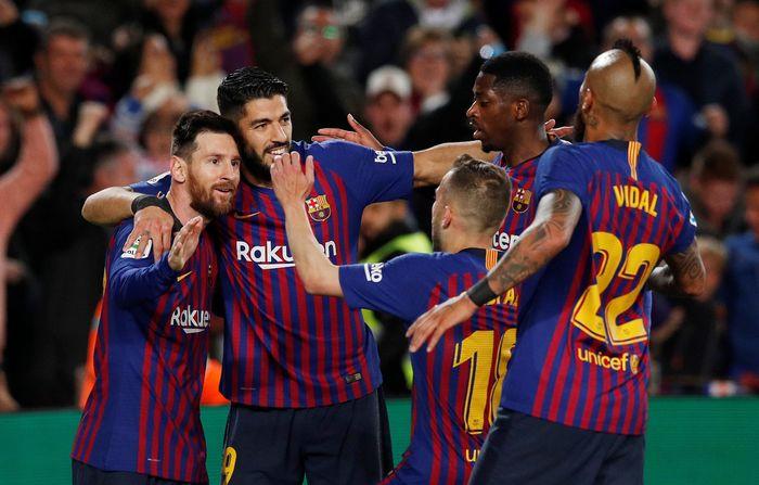 Dalam pertandingan di Camp Nou, Minggu (28/4/2019) dinihari WIB, Barcelona memetik kemenangan atas Levante dengan skor akhir 1-0. REUTERS/Albert Gea.