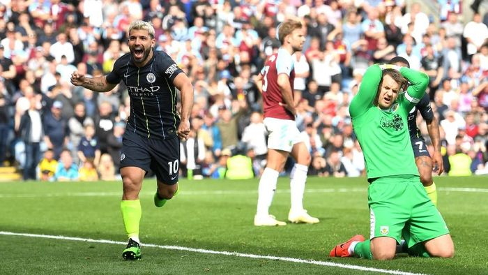 Sergio Aguero mencetak gol tunggal kemenangan Manchester City atas Burnley. (Foto: Michael Regan / Getty Images)