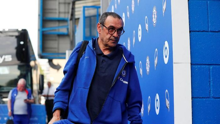 Soccer Football - Premier League - Chelsea v Burnley - Stamford Bridge, London, Britain - April 22, 2019  Chelsea manager Maurizio Sarri arrives before the match  REUTERS/Eddie Keogh  EDITORIAL USE ONLY. No use with unauthorized audio, video, data, fixture lists, club/league logos or live services. Online in-match use limited to 75 images, no video emulation. No use in betting, games or single club/league/player publications.  Please contact your account representative for further details.