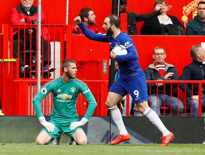 Manchester United bertanding melawan Chelsea di Old Trafford, Mingg9 (28/4/2019) malam WIB. Meski bermain di kandang sendiri, MU hanya mampu bermain imbang 1-1. Jason Cairnduff/Reuters.
