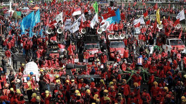 Ilustrasi demo buruh.