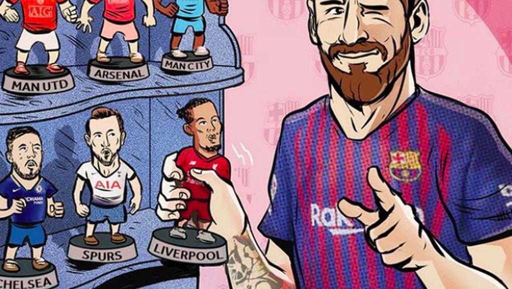 Meme Liverpool Dilumat Barcelona, Ada Messi Hipnotis Van Dijk