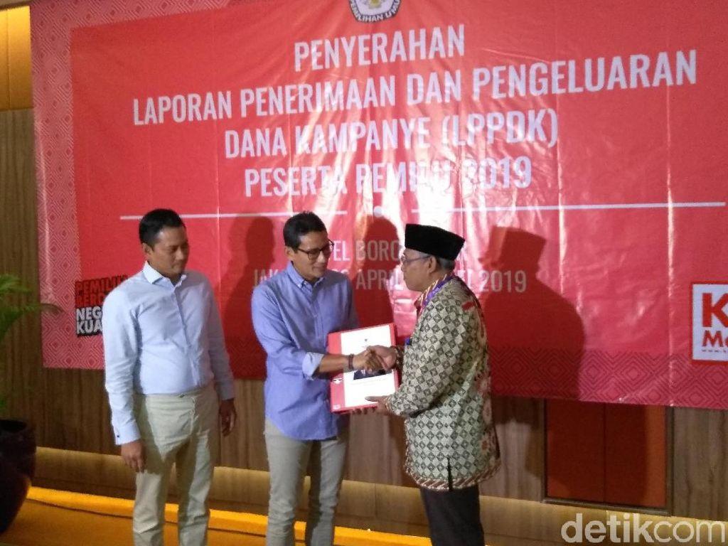 BPN Prabowo Laporkan Dana Kampanye: Penerimaan Rp 213 M, Pengeluaran Rp 211 M