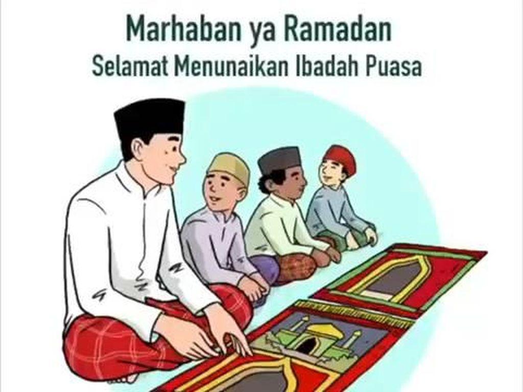 Sambut Ramadhan, Ilustrasi Salat Berjamaah dan Satu Sajadah Diposting Jokowi