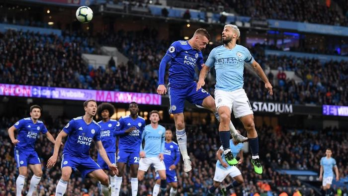 Manchester City vs Leicester City imbang tanpa gol di babak pertama. (Foto: Laurence Griffiths/Getty Images)
