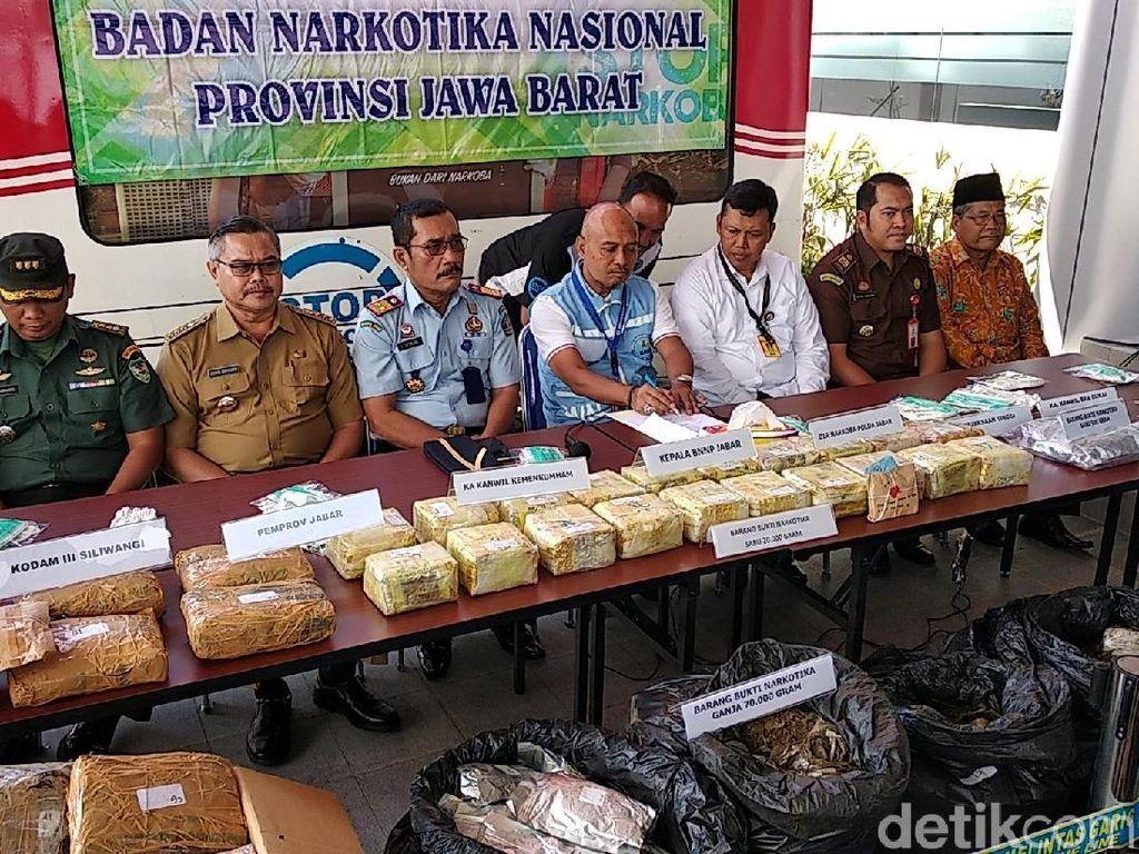 BNN Jabar Ungkap Penyelundupan Ganja 70 Kg dalam Ban Asal Aceh