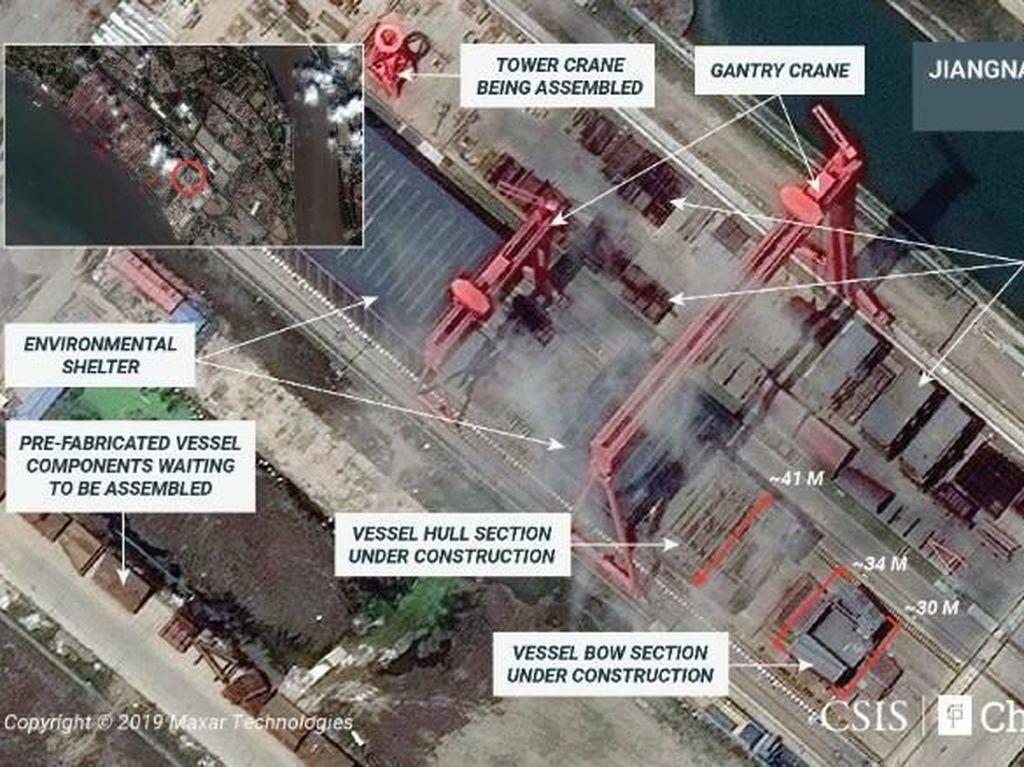 Citra Satelit Tunjukkan China Sedang Membuat Kapal Induk Terbaru