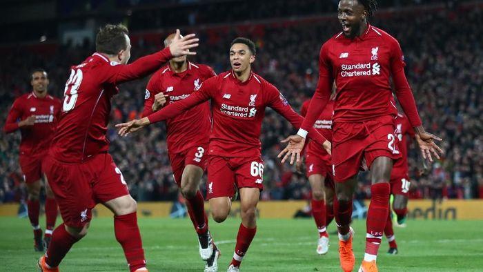 Liverpool memetik kemenangan 4-0 atas Barcelona di leg II semifinal Liga Champions. Mereka pun lolos ke final dengan agregrat 4-3. (Foto: Clive Brunskill/Getty Images)