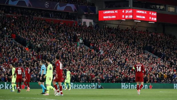 Soccer Football - Champions League Semi Final Second Leg - Liverpool v FC Barcelona - Anfield, Liverpool, Britain - May 7, 2019  General view of the scoreboard during the match              Action Images via Reuters/Carl Recine