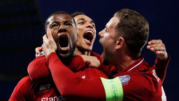 Pemain Liverpool merayakan gol ke gawang Barcelona di leg kedua semifinal Liga Champions. (Foto: Phil Noble/Reuters)