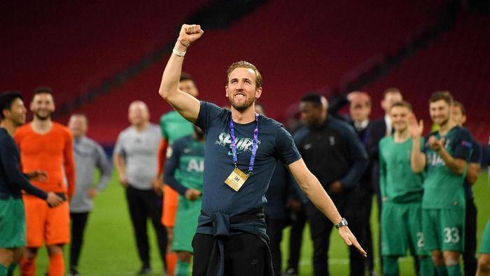 Harry Kane merayakan kelolosan Tottenham Hotspur ke final Liga Champions. (Foto: Dan Mullan/Getty Images)