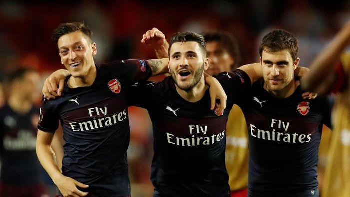 Arsenal melenggang ke final Liga Europa usai menang agregat 7-3 atas Valencia. (Foto: Andrew Boyers/Action Images via Reuters)