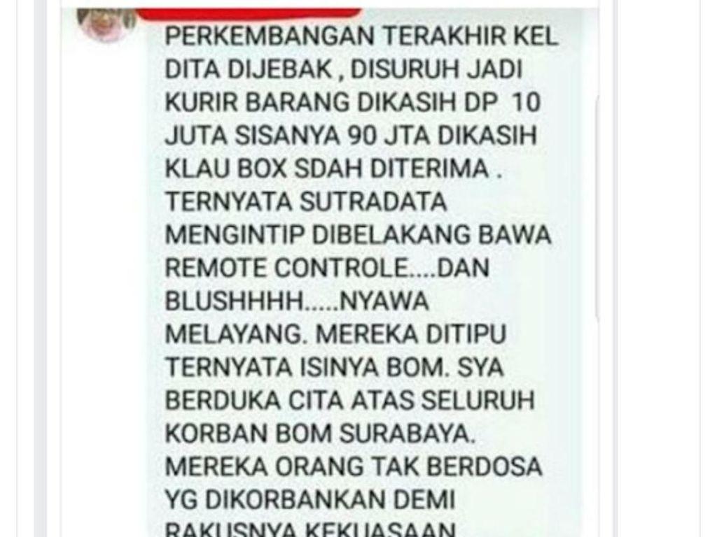 Tak Cuma Unggah Bunuh Polisi, Dosen Solatun Sebar Hoaks Bom Surabaya