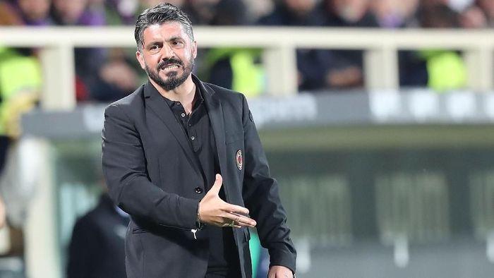 Pelatih AC Milan Gennaro Gattuso mengungkapkan penyesalan usai kemenangan atas Fiorentina. (Foto: Gabriele Maltinti / Getty Images)