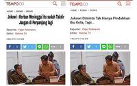Hoax Jokowi sebut 'Korban Meninggal Itu Sudah Takdir' (kiri). Berita asli terletak di sebelah kanan.