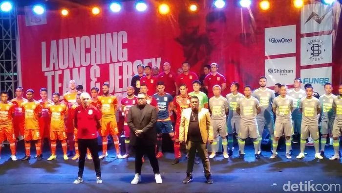 Borneo FC saat melaunching skuat dan memperkenalkan jersey anyarnya untuk Liga 1 2019. (Foto: Suriyatman/detikSport)