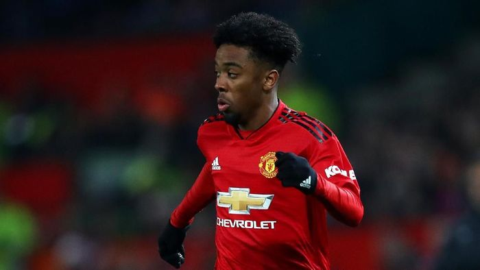 MANCHESTER, ENGLAND - DECEMBER 26: Angel Gomes of Manchester United in action during the Premier League match between Manchester United and Huddersfield Town at Old Trafford on December 26, 2018 in Manchester, United Kingdom. (Photo by Clive Brunskill/Getty Images)