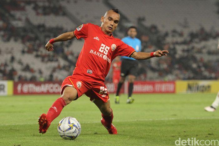 Riko Simanjuntak di Persija jakarta saat menghadapi Shan United di SUGBK, Rabu (16/5/2019)