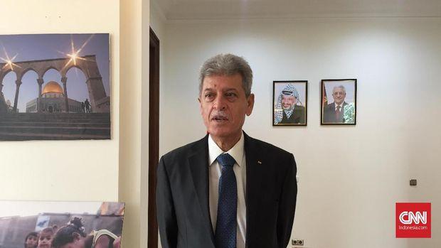 Dubes Palestina untuk Indonesia, Zuhair Al Shun, menyampaikan harapan agar Indonesia dapat melunakkan Amerika Serikat dan Israel di PBB, dalam jumpa pers di Jakarta, Jumat (17/5).