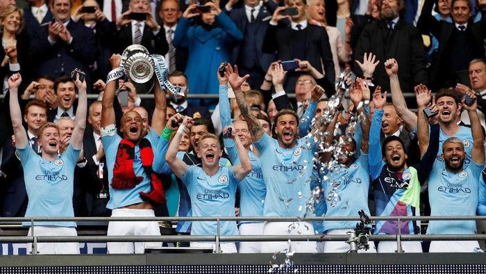 Manchester City menciptakan sejarah setelah menyapu treble domestik kompetisi Inggris. (Foto: John Sibley / Action Images via Reuters)