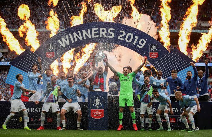 Manchester City menciptakan statistik luar biasa usai memenangi Piala FA 2018/19. (Foto: Richard Heathcote / Getty Images)