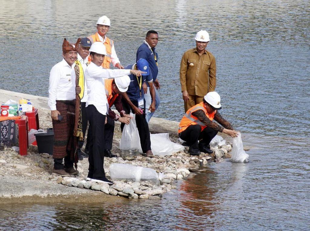 Momen Jokowi Resmikan Bendungan Rotiklot di NTT