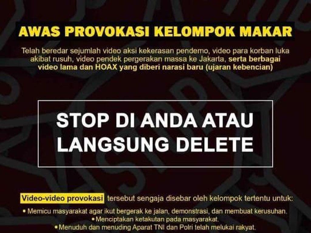 Polisi Imbau Masyarakat Tak Sebar Video Provokasi Terkait Kerusuhan