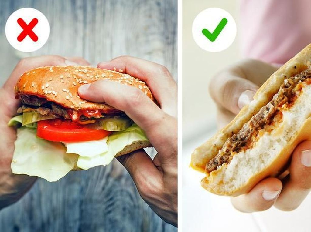 Jangan Keliru! Ini Cara Benar Makan Burger dan Potong Semangka