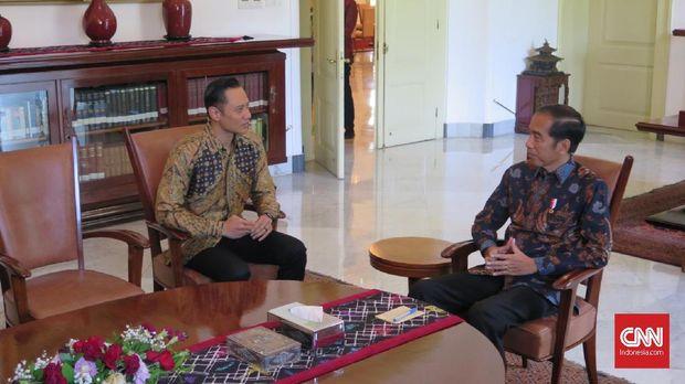 AHY saat bertemu Jokowi di Istana.