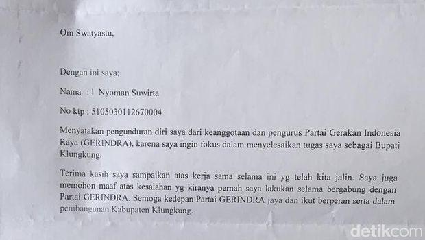 Bupati Klungkung Bali Mundur dari Partai Gerindra