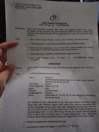 Surat penangkapan anggota BPN Prabowo Subianto-Sandiaga Uno, Mustofa Nahrawardaya.