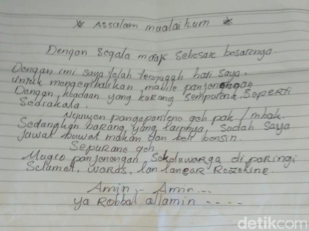 Begini Isi Surat dari Pencuri yang Kembalikan Mobil Curiannya di Pati