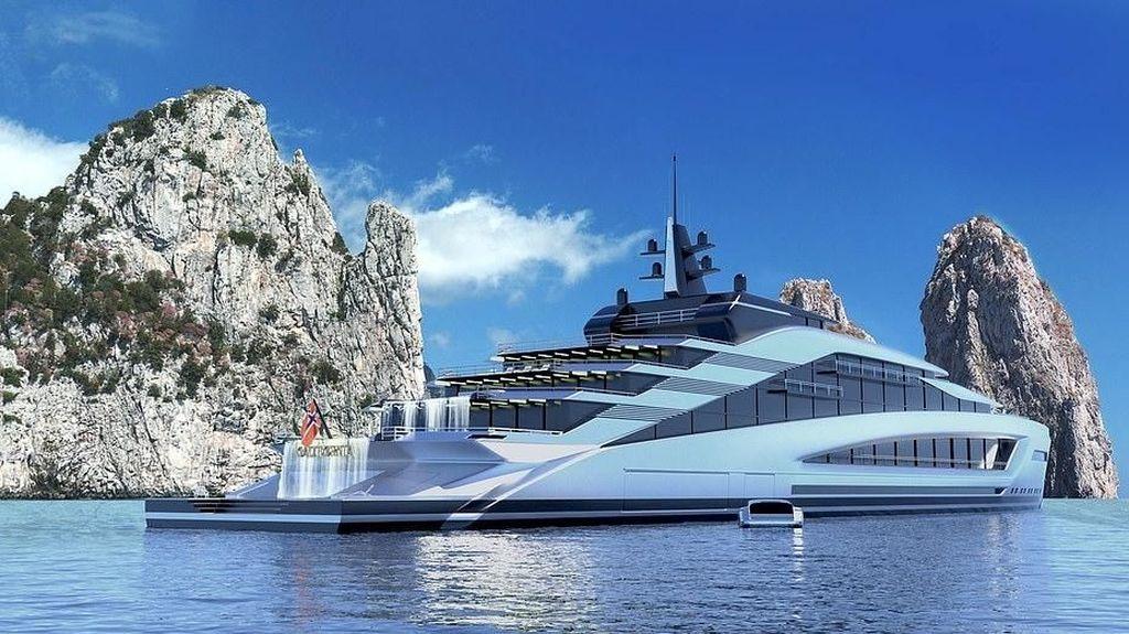 Foto: Kapal Yacht Super Mewah, Ada Air Terjunnya!