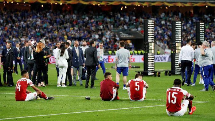 Di Baku Olympic Stadium, Kamis (30/5/2019) dinihari WIB, Arsenal gagal juara setelah dihajar oleh Chelsea dengan skor akhir 1-4. (Foto: Maxim Shemetov/Reuters)